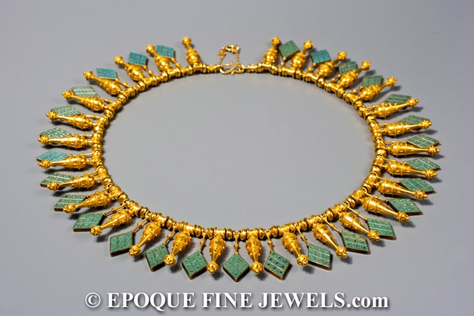 Castellani - A rare archeological revival gold and micromosaic necklace,   | MasterArt
