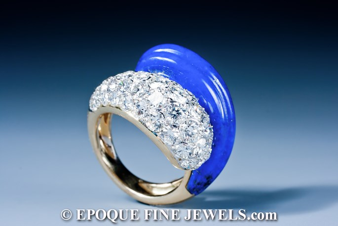 Fred - A beautiful lapis and diamond crossover ring | MasterArt