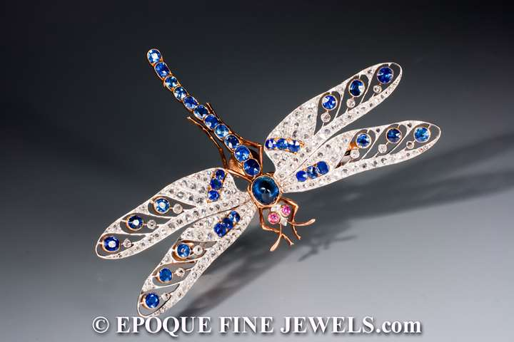 A magnificent antique sapphire, ruby and diamond dragonfly brooch 'en tremblant'