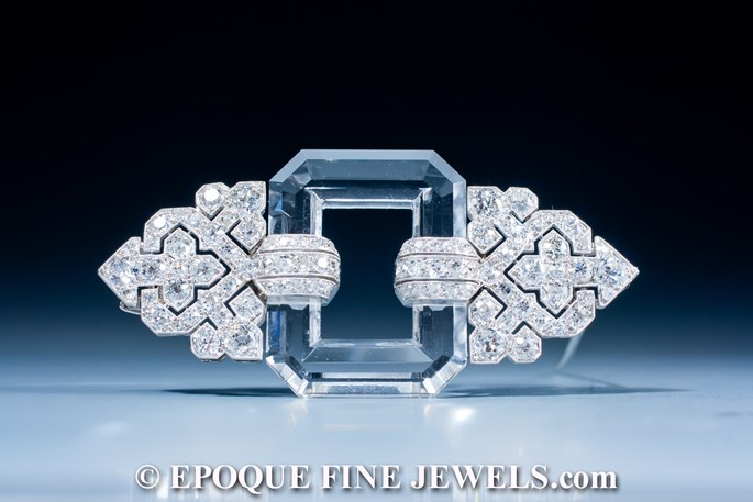 Linzeler & Marchak - A very fine Art Deco rock crystal and diamond brooch | MasterArt