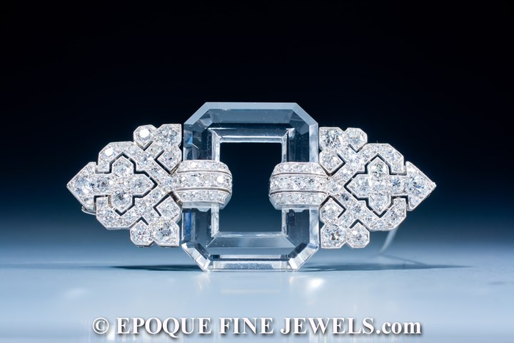 A very fine Art Deco rock crystal and diamond brooch