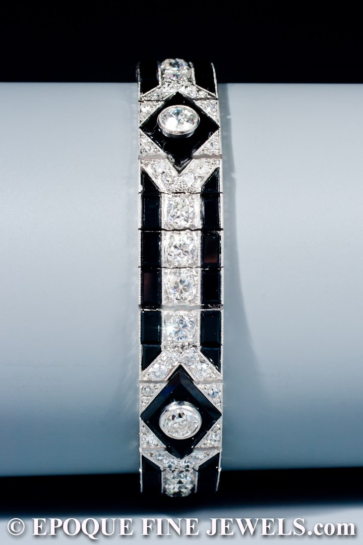 A very fine onyx and diamond bracelet