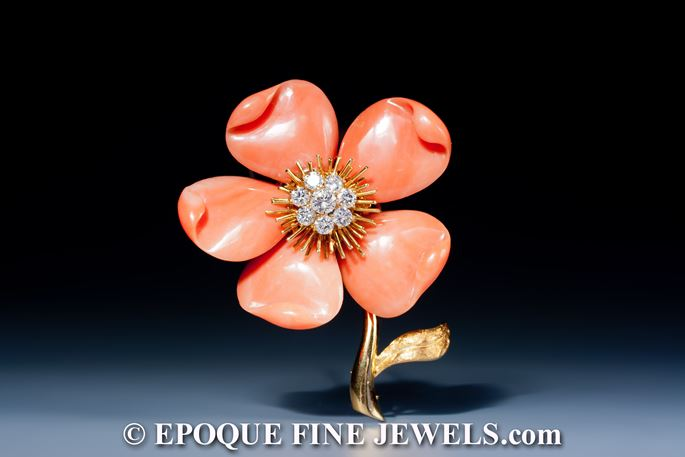 Van Cleef & Arpels - A beautiful coral and diamond flower brooch | MasterArt