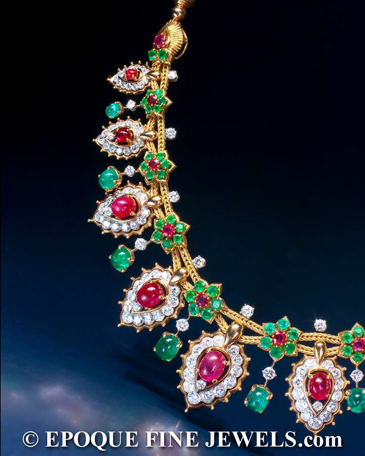 A magnificent ruby, emerald and diamond necklace of oriental inspiration