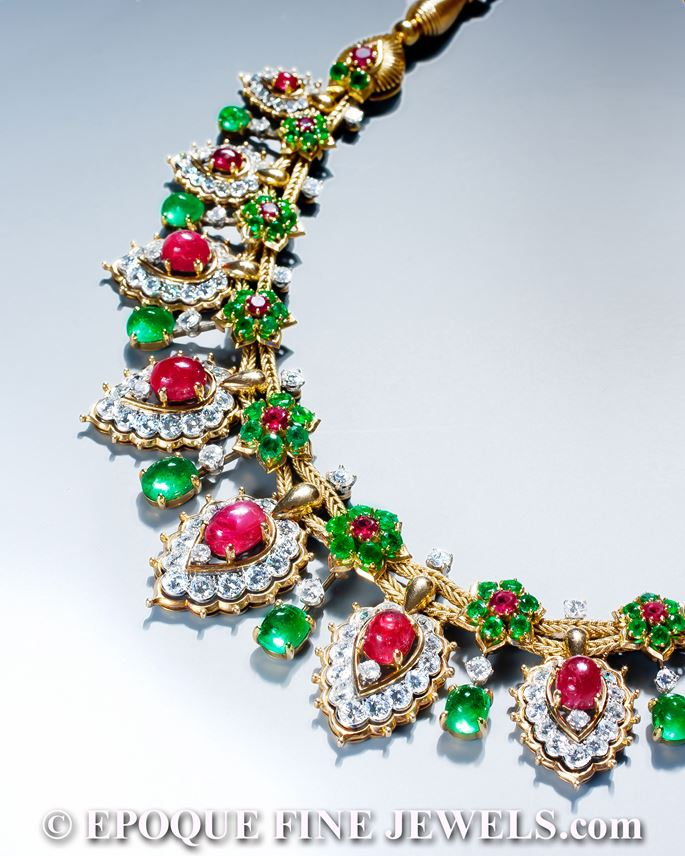 Van Cleef & Arpels - A magnificent ruby, emerald and diamond necklace of oriental inspiration | MasterArt