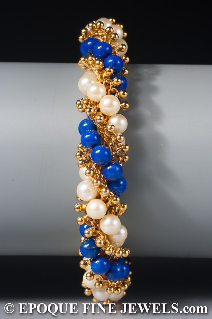 An 18 karat gold, pearl and lapis torsade bracelet