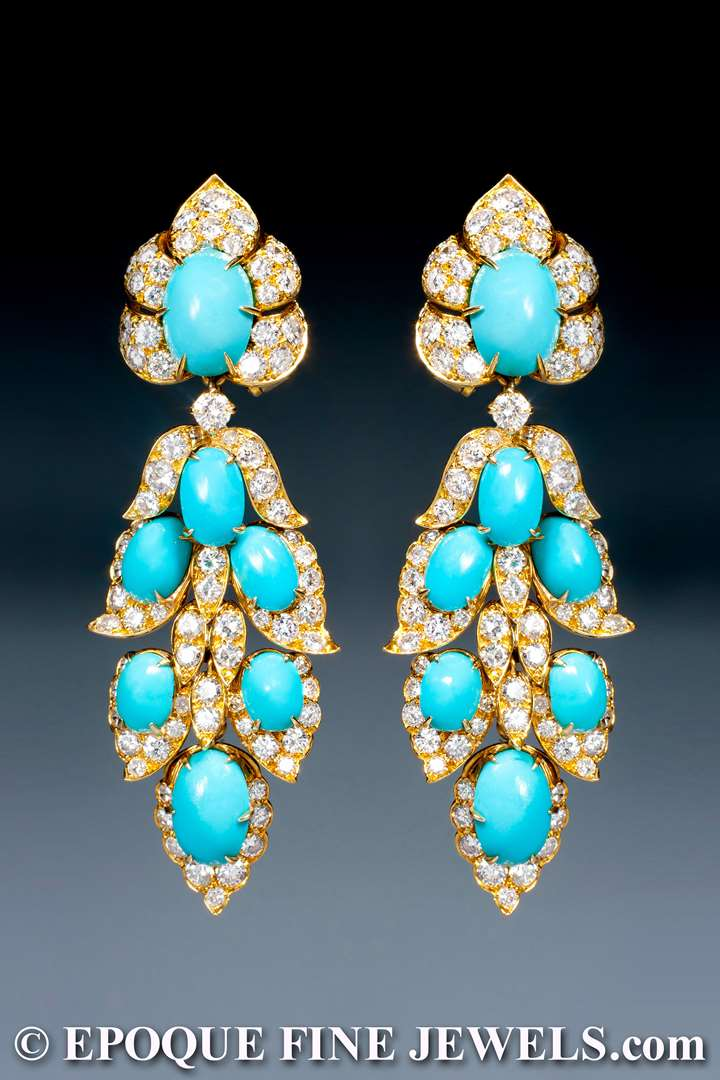 An extravagant pair of turquoise and diamond pendant earrings