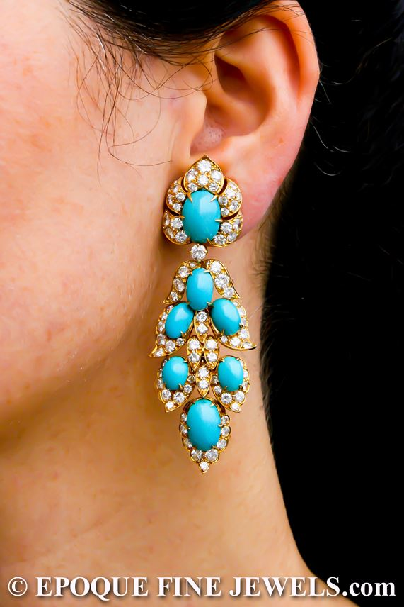 Van Cleef & Arpels - An extravagant pair of turquoise and diamond pendant earrings | MasterArt