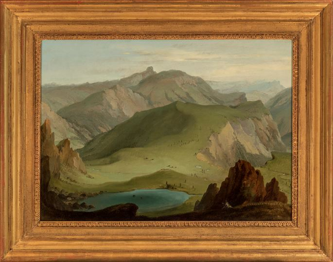 Caspar Wolf - View from the Muntigalm across Lake Seeberg towards the Stockhorn Chain   | MasterArt