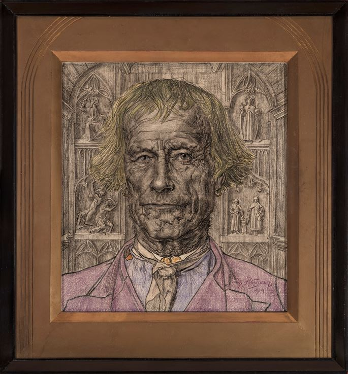 Jan Toorop - Portrait of an Old Peasant in Front of a Cathedral | MasterArt