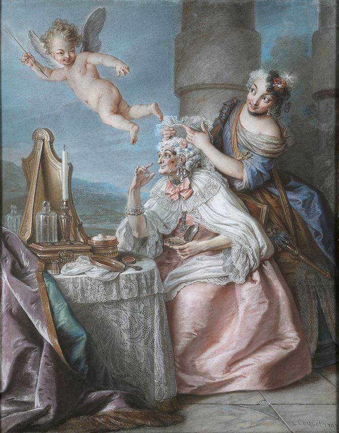 Charles-Antoine Coypel - Folly Embellishing Old Age with the Adornments of Youth     | MasterArt