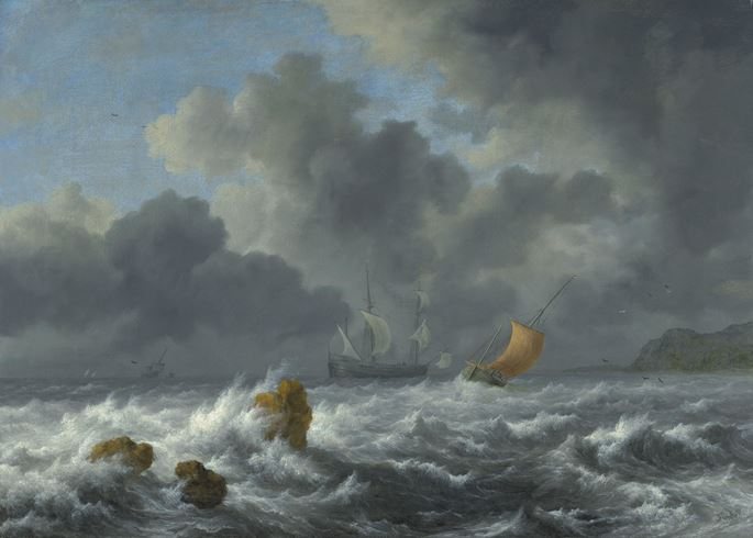 Jacob van Ruisdael - Sailing Vessels in a Stormy Sea   | MasterArt