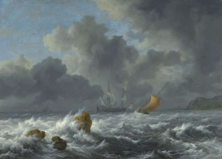 Sailing Vessels in a Stormy Sea