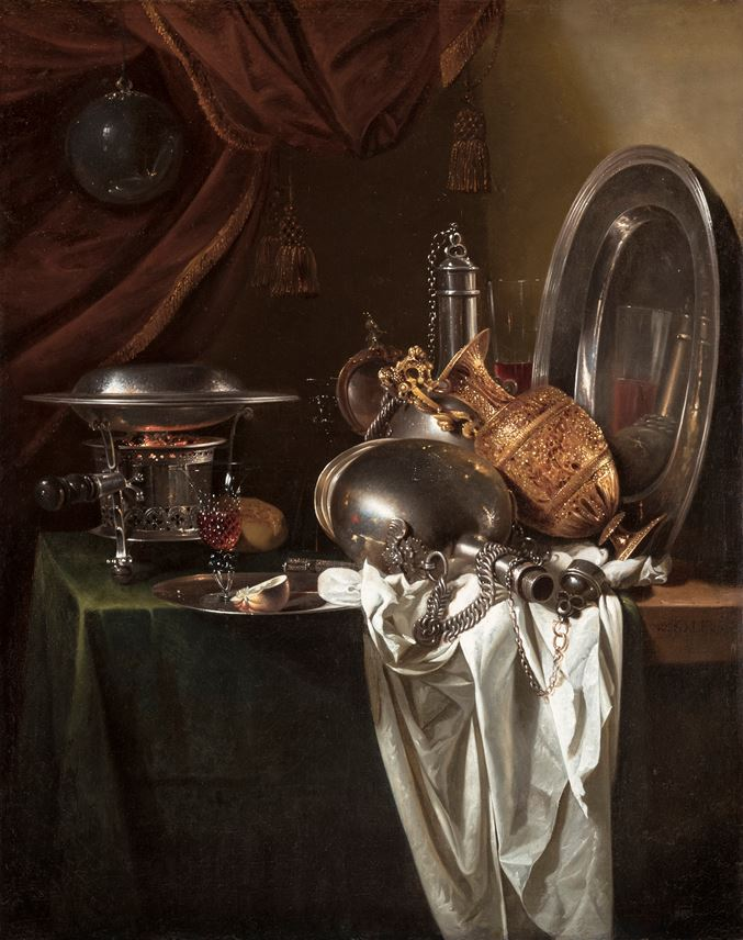 Willem Kalf - Still Life with a chafing dish, pilgrim's canteens and a silver-gilt ewer on a partially draped table | MasterArt