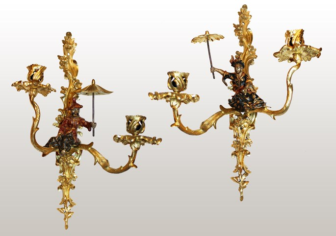 A pair of Louis XV lacquered  and giltbronze twin-branch wall-lights | MasterArt