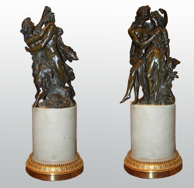 Jacques-Philippe Dumont - Pair of Bronze groups with brown patina attributed to J-Ph. Dumont | MasterArt