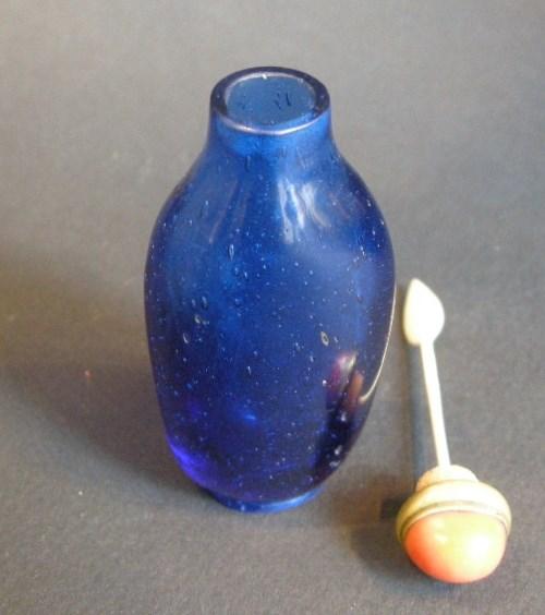 Glass snuff botthe blue saphir  - Qianlong period | MasterArt