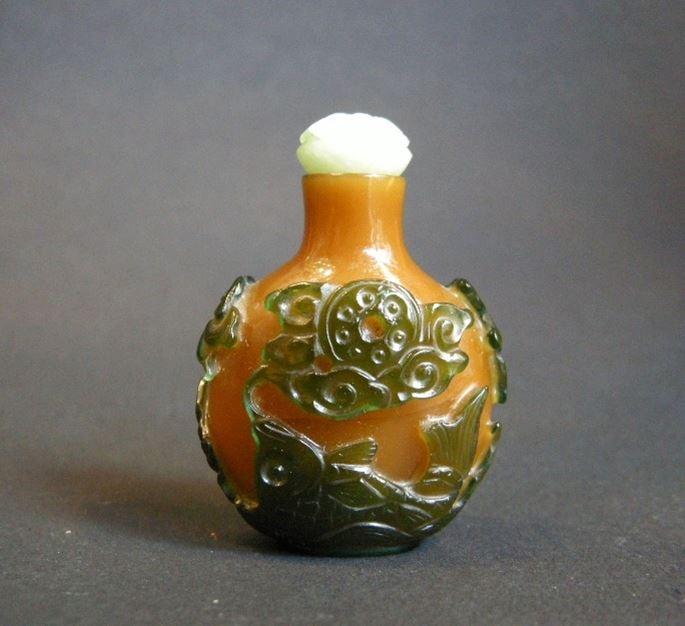 Small snuff bottle glass overlay green on brown caramel ground | MasterArt