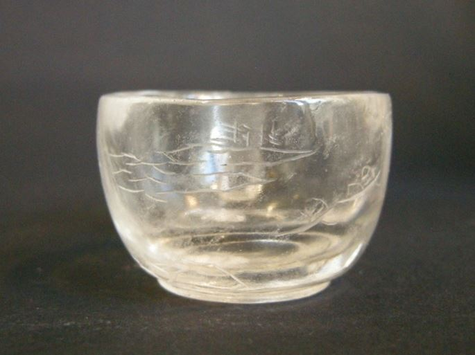 Watercup rock Crystal engraved with boat figures in a landscape   MasterArt