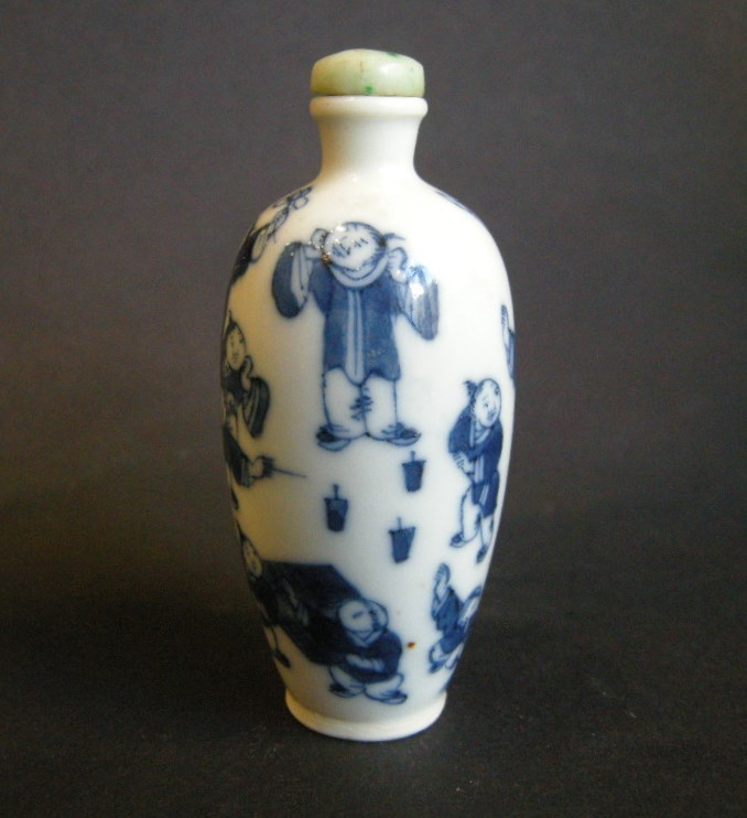 Porcelain snuff bottle blue and white decorated with childrens games | MasterArt