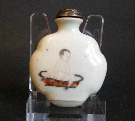 Porcelain snuff bottle shape rare decorated on each face with erotic decor | MasterArt