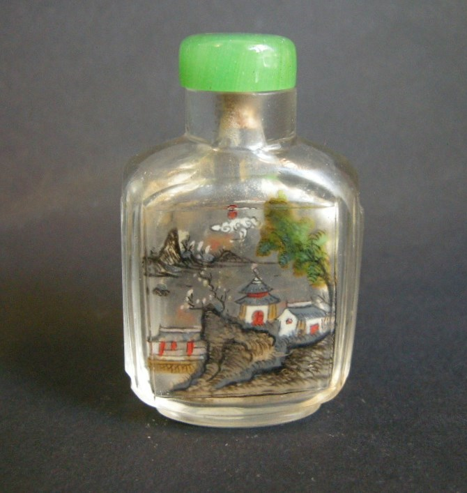 Glass snuff bottle Inside painted with landscapes in each face Lingnan school | MasterArt