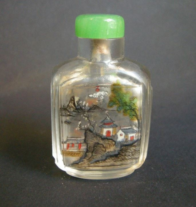Glass snuff bottle Inside painted with landscapes in each face Lingnan school   MasterArt