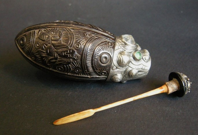 Coconut snuff bottle sculpted with silver mount stone embelishement   MasterArt