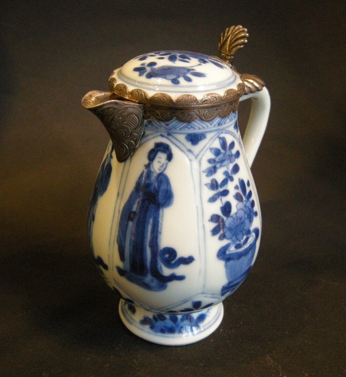 Chinese blue and white porcelain small ewer decorated with ladies and flowers with silver mount | MasterArt