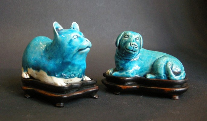 Cat and dog in biscuit turquoise enamel | MasterArt