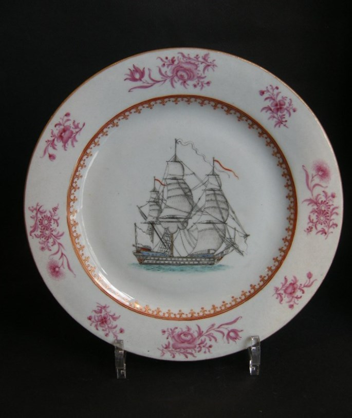 Famille rose porcelain plate with a ship | MasterArt