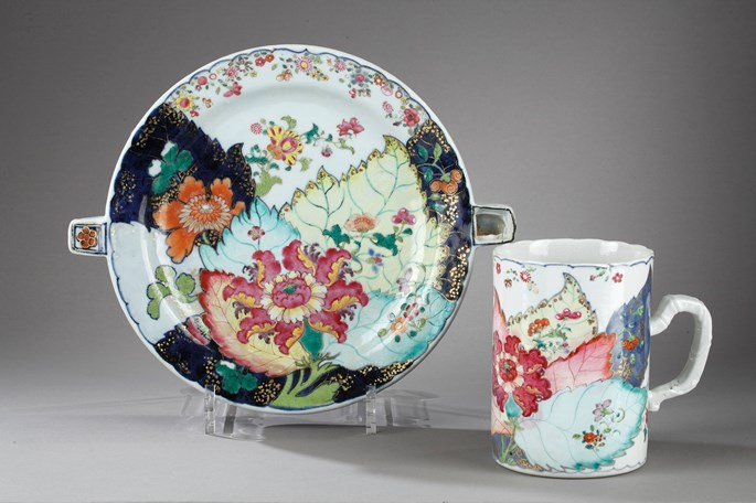 Rare heating dish porcelain, Tobacco Leaf decor | MasterArt