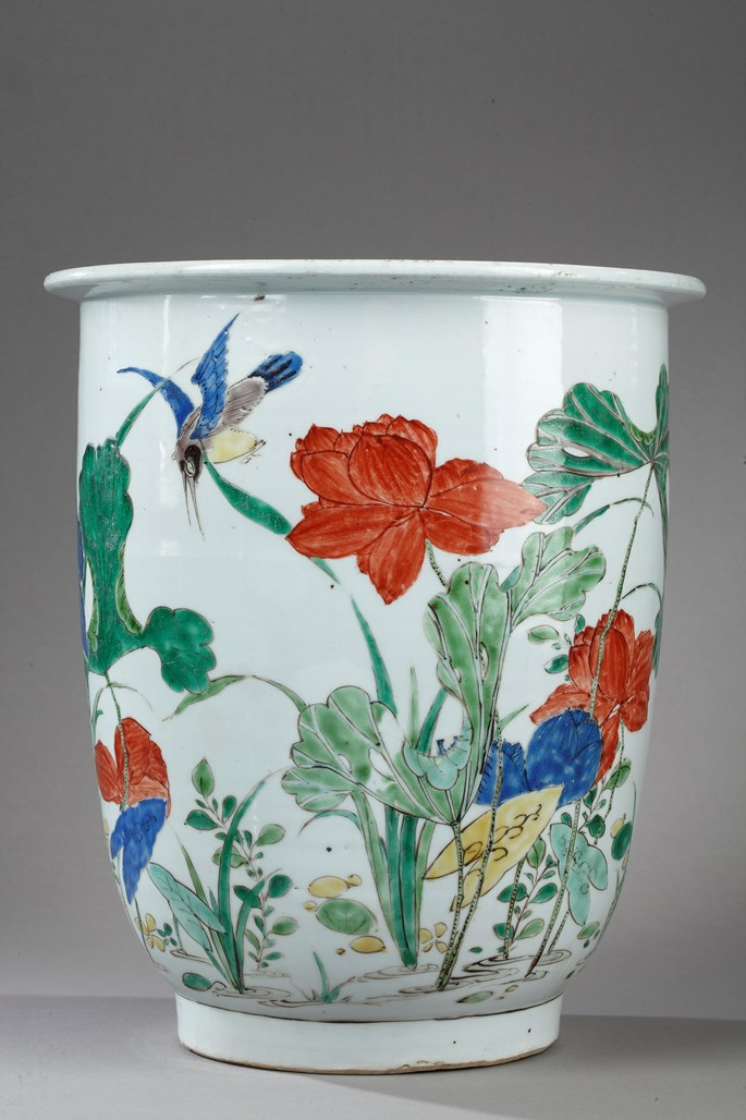 """Important pot porcelain """"famille verte"""" decorated with Kingfisher and lotus - Kangxi period 