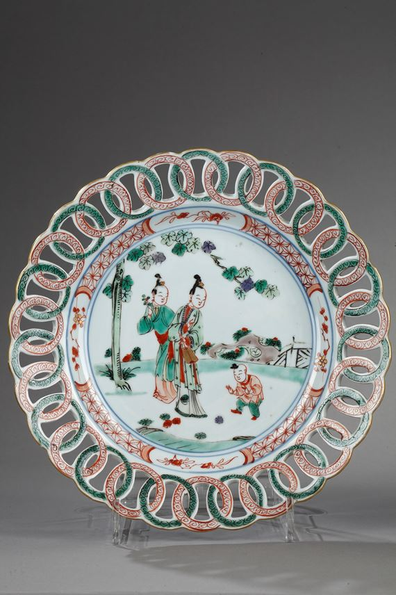 Plateս with rim reticulated - Famille verte porcelain - Kangxi period   MasterArt