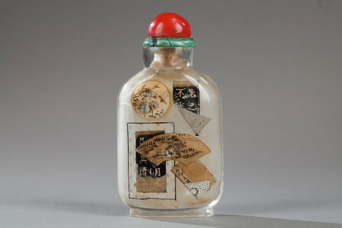 "Snuff bottle glass inside painted, decorated with old documents on a side and other side  with caligraphy of ""lanting preface"" 