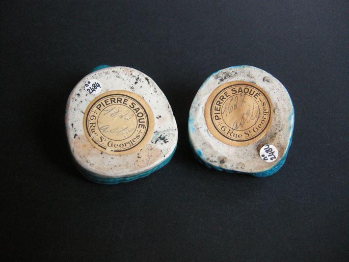 Pair of small Putai  brushwasher biscuit bleu turquoise   MasterArt