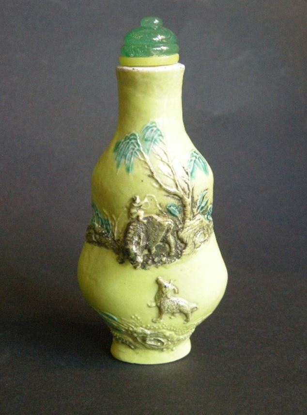Large snuff bottle porcelain double gourd  molded in the style of Wang bingrong with Buffalo and boy in a landscape and other face with a crane   MasterArt