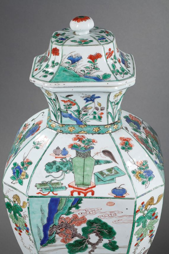 Pair of porcelain Famille Verte large vases and covers, finely painted with landscape and figures with flowers birds and lotus | MasterArt
