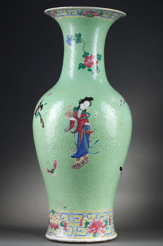 Large vase porcelain decorated in low relief on graviata ground  with three gods star | MasterArt