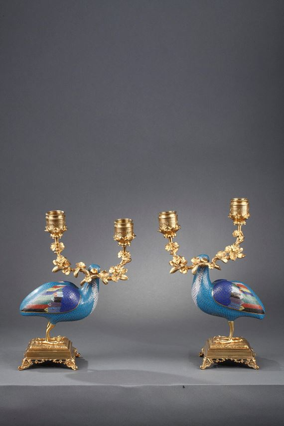 Pair of birds quail cloisonné enamel | MasterArt