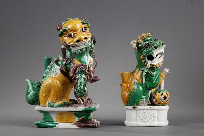"""Fo dog biscuit """"famille verte""""  ears move - Kangxi period   MasterArt"""