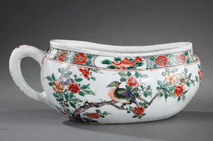 "Bourdaloue  ""Famille verte""  porcelain - decorated with birds and flowers  and with fish crab and shrimp 