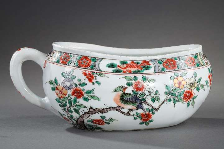 "Bourdaloue  ""Famille verte""  porcelain - decorated with birds and flowers  and with fish crab and shrimp"
