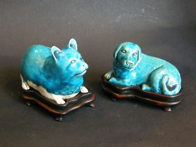 Cat and dog in biscuit turquoise enamel