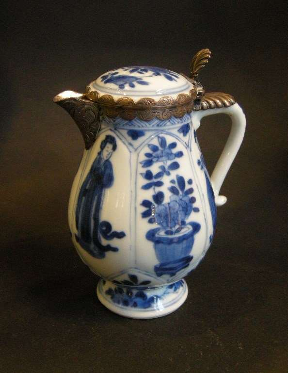 Chinese blue and white porcelain small ewer decorated with ladies and flowers with silver mount
