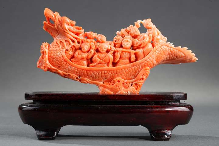 Chinese coral dragon shaped boat with women musicians on it