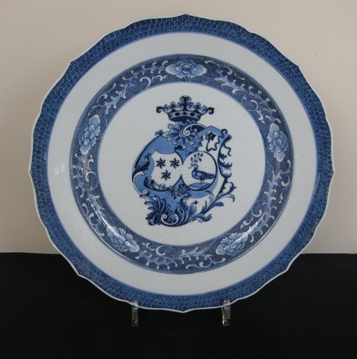 Dish decorated in underglaze blue with the armorial Marchant and Gallart Qianlong period