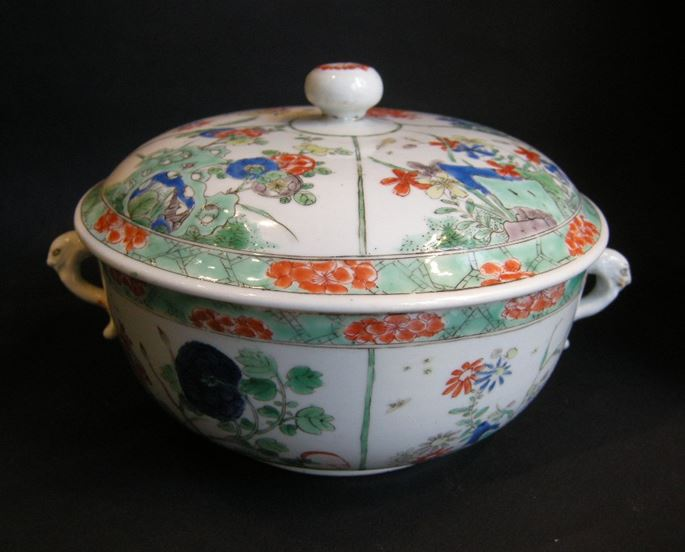 "Ecuelle ""famille verte porcelain decorated with flowers - Kangxi period 