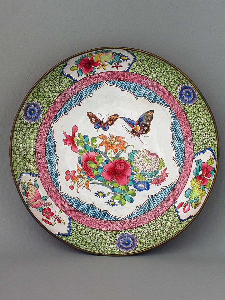 "Enamel on copper ""famille rose"" style rubis back dish decorated with flowers and butterflies Canton or Bejing"
