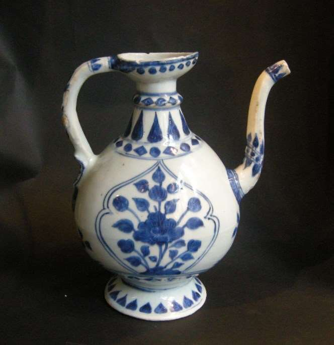 Ewer blue and white porcelain Oriental shape